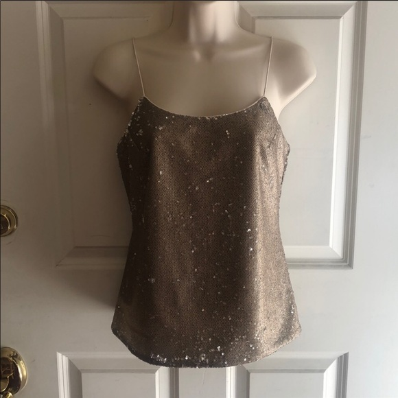 Banana Republic Tops - Gold Sequin Spaghetti Strap Top - NWT